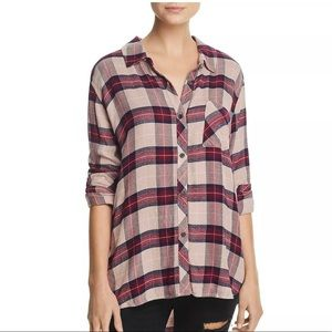 Rails tan red flannel button up small